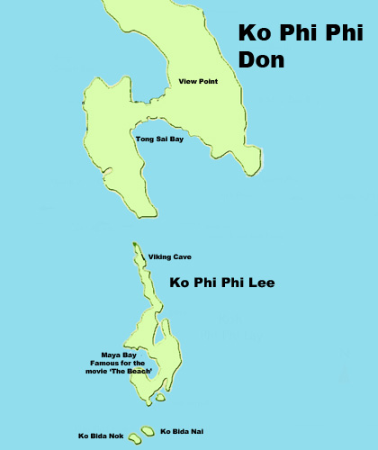 Map of Phi Phi Island Phuket Thailand